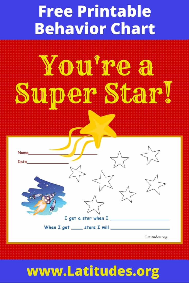 free printable behavior chart  super star