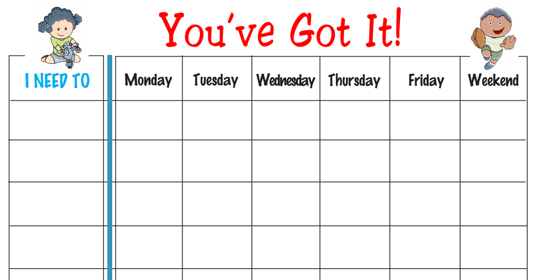 Gutsy image within weekly behavior chart printable