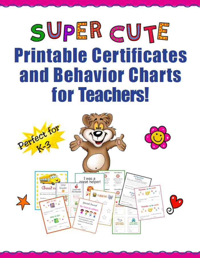 FREE Super Cute Printable Certificates and Behavior Charts for ...